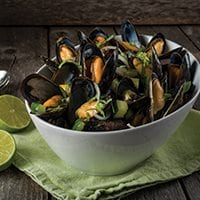 Blueberry Ale & Lime PEI Mussels