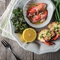 GRILLED PEI LOBSTER WITH WHITE CHEDDAR & SCALLION
